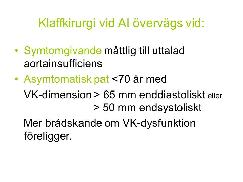 Klaffkirurgi vid AI övervägs vid: Symtomgivande måttlig till uttalad aortainsufficiens Asymtomatisk pat <70 år med VK-dimension > 65 mm enddiastoliskt