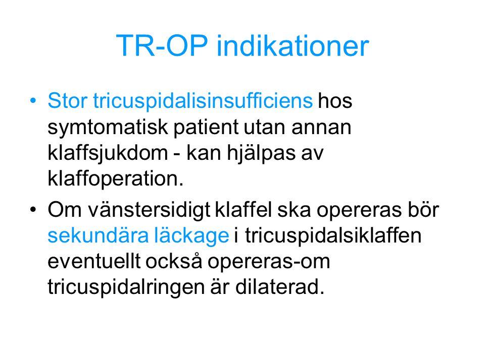 TR-OP indikationer Stor tricuspidalisinsufficiens hos symtomatisk patient utan annan klaffsjukdom - kan hjälpas av klaffoperation. Om vänstersidigt kl