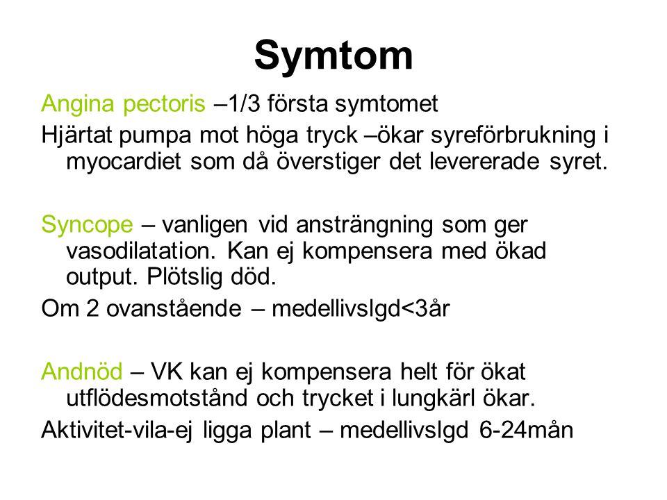 Diagnos AOA (aortaklaffsarea) normal: 2,5- 4 cm 2 Max flödeshast MedelgradAOA Lätt stenos: < 3 m/s< 25mmHg1,5-2,5 cm 2 Måttlig stenos: 3-4 m/s25-40mmHg 1-1,5 cm 2 Kritisk stenos:>4 m/s> 40mmHg < 1 cm cm 2 OBS.
