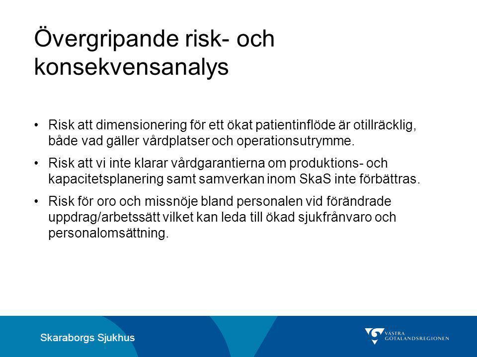 Skaraborgs Sjukhus Övergripande risk- och konsekvensanalys Risk att dimensionering för ett ökat patientinflöde är otillräcklig, både vad gäller vårdplatser och operationsutrymme.