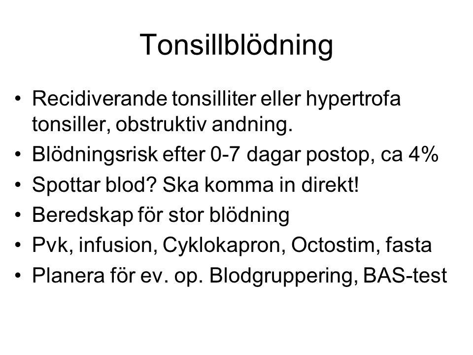 Tonsillblödning Recidiverande tonsilliter eller hypertrofa tonsiller, obstruktiv andning. Blödningsrisk efter 0-7 dagar postop, ca 4% Spottar blod? Sk