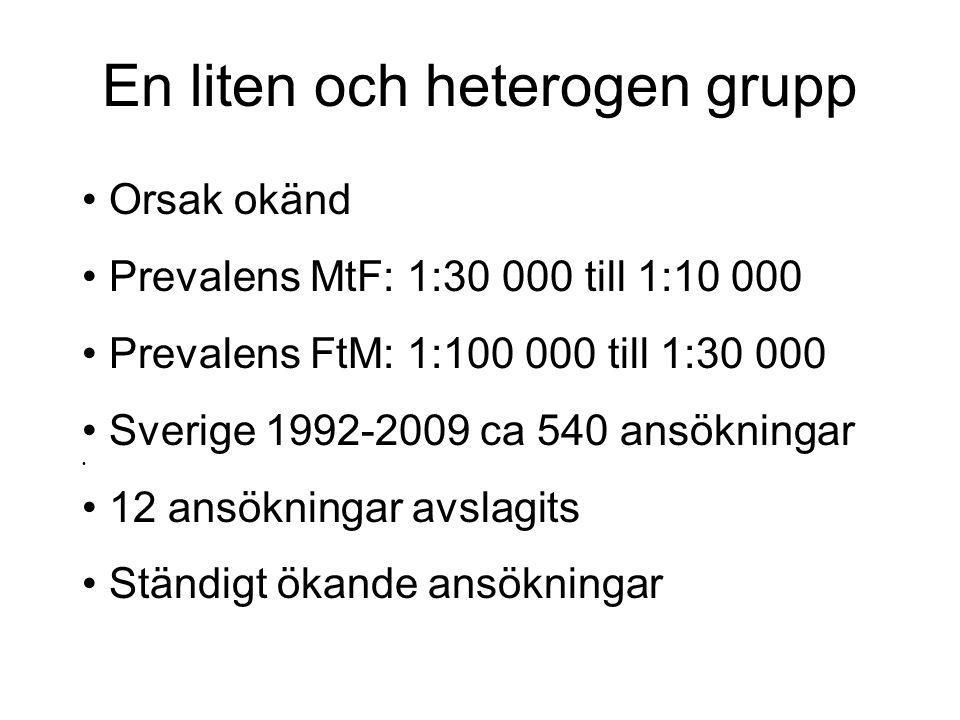 En liten och heterogen grupp Orsak okänd Prevalens MtF: 1:30 000 till 1:10 000 Prevalens FtM: 1:100 000 till 1:30 000 Sverige 1992-2009 ca 540 ansökni