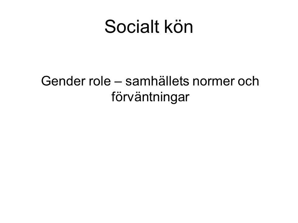 Socialt kön Gender role – samhällets normer och förväntningar