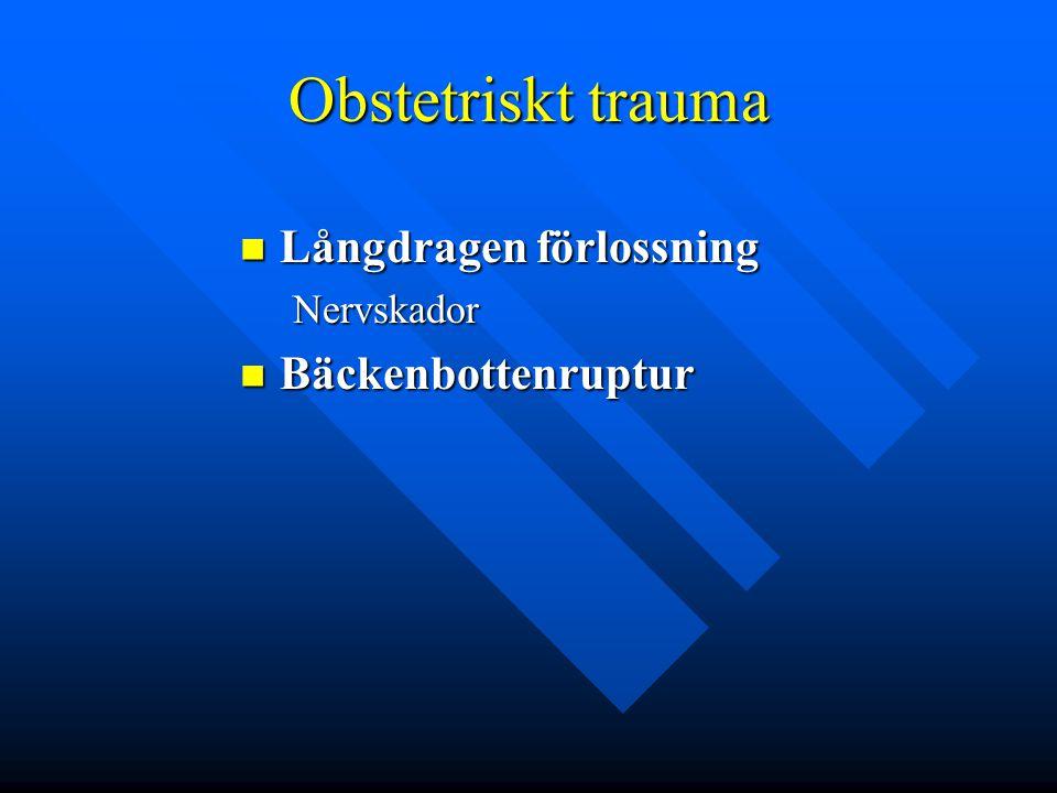 Obstetriskt trauma Långdragen förlossning Långdragen förlossningNervskador Bäckenbottenruptur Bäckenbottenruptur