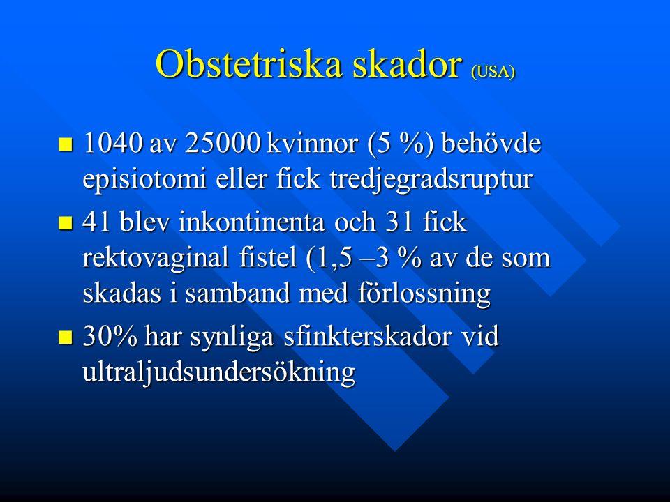 Obstetriska skador (USA) 1040 av 25000 kvinnor (5 %) behövde episiotomi eller fick tredjegradsruptur 1040 av 25000 kvinnor (5 %) behövde episiotomi el