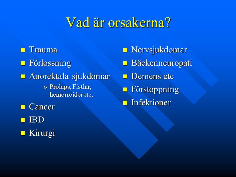 Vad är orsakerna? Trauma Trauma Förlossning Förlossning Anorektala sjukdomar Anorektala sjukdomar »Prolaps, Fistlar, hemorroider etc. Cancer Cancer IB