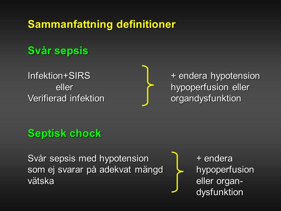 Sammanfattning definitioner Svår sepsis Infektion+SIRS + endera hypotension eller hypoperfusion eller Verifierad infektion organdysfunktion Septisk ch