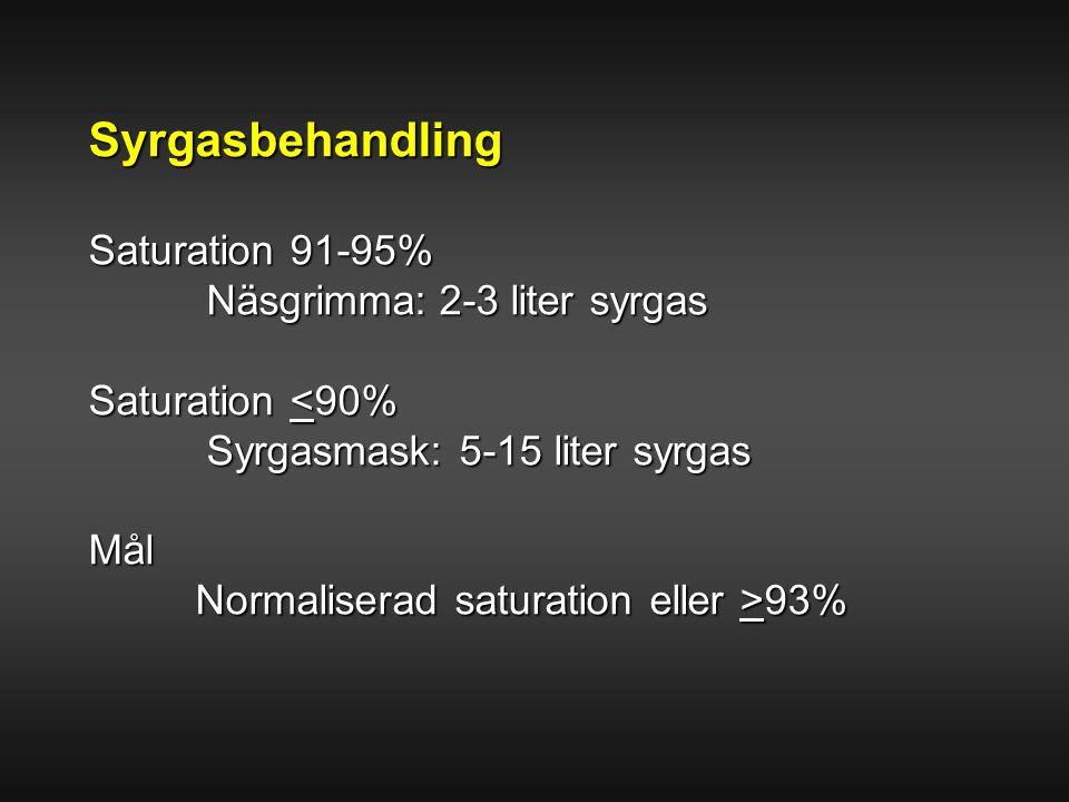 Syrgasbehandling Saturation 91-95% Näsgrimma:2-3 liter syrgas Näsgrimma: 2-3 liter syrgas Saturation <90% Syrgasmask: 5-15 liter syrgas Syrgasmask: 5-