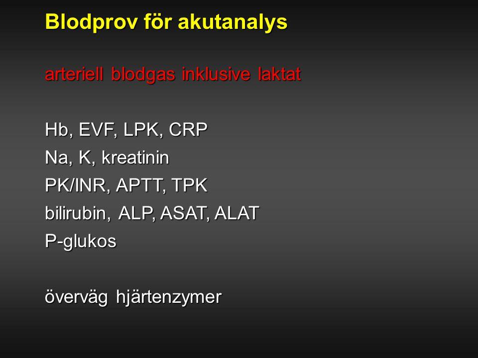 Blodprov för akutanalys arteriell blodgas inklusive laktat Hb, EVF, LPK, CRP Na, K, kreatinin PK/INR, APTT, TPK bilirubin, ALP, ASAT, ALAT P-glukos öv