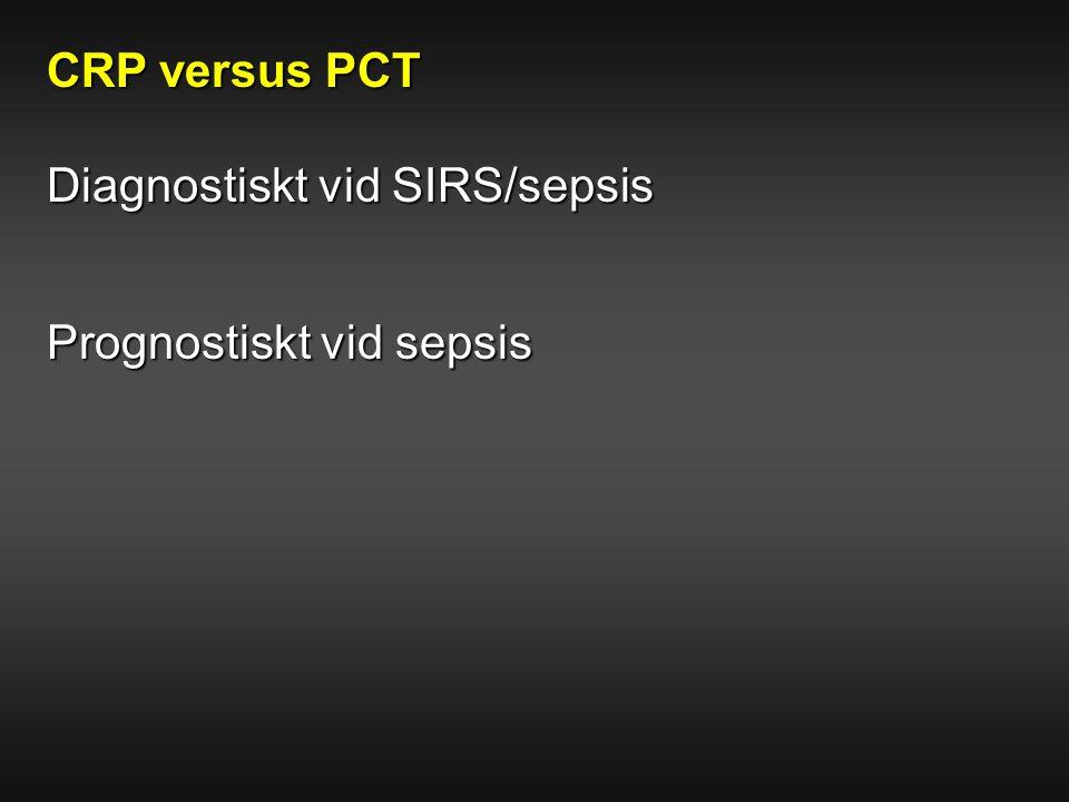 CRP versus PCT Diagnostiskt vid SIRS/sepsis Prognostiskt vid sepsis
