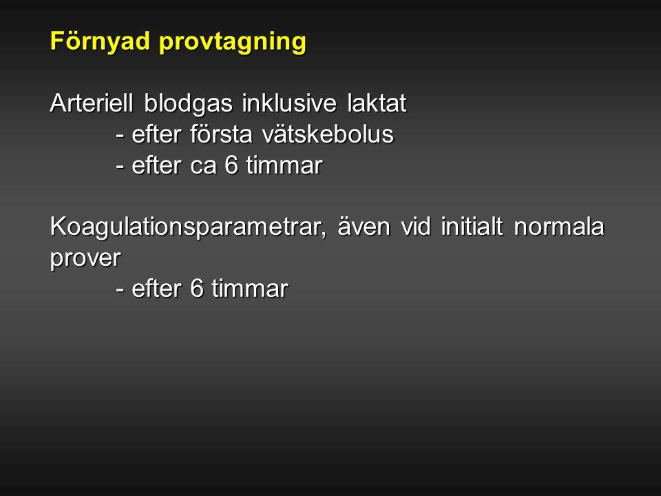 Förnyad provtagning Arteriell blodgas inklusive laktat - efter första vätskebolus - efter ca 6 timmar Koagulationsparametrar, även vid initialt normal