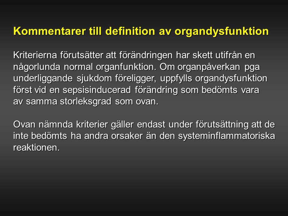 Sammanfattning definitioner Svår sepsis Infektion+SIRS + endera hypotension eller hypoperfusion eller Verifierad infektion organdysfunktion Septisk chock Svår sepsis med hypotension + endera som ej svarar på adekvat mängdhypoperfusion vätskaeller organ- dysfunktion