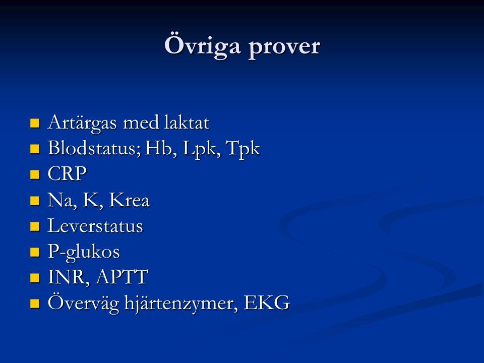 Övriga prover Artärgas med laktat Artärgas med laktat Blodstatus; Hb, Lpk, Tpk Blodstatus; Hb, Lpk, Tpk CRP CRP Na, K, Krea Na, K, Krea Leverstatus Le