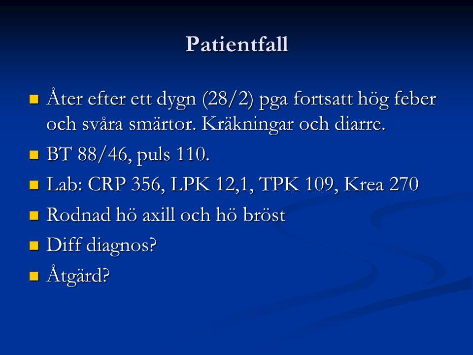 Status Observandum Temp Temp Blodtryck (systoliskt) <90 Blodtryck (systoliskt) <90 Puls >90 Puls >90 Andningsfrekvens >25 Andningsfrekvens >25 Saturation <90% Saturation <90% Mental påverkan, nackstelhet Mental påverkan, nackstelhet Perifer cirkulation Perifer cirkulation Hudutslag: petekier Hudutslag: petekier Urinproduktion 0,5 ml/kg/tim Urinproduktion 0,5 ml/kg/tim