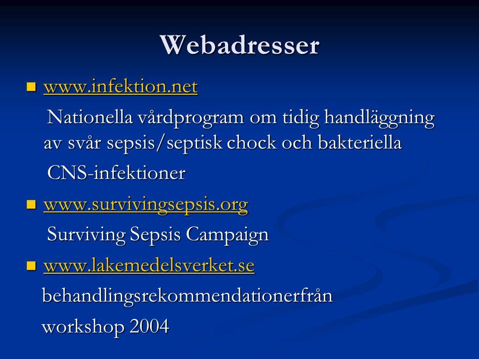 Webadresser www.infektion.net www.infektion.net www.infektion.net Nationella vårdprogram om tidig handläggning av svår sepsis/septisk chock och bakter