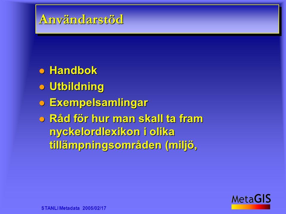 STANLI Metadata 2005/02/17 AnvändarstödAnvändarstöd Handbok Handbok Utbildning Utbildning Exempelsamlingar Exempelsamlingar Råd för hur man skall ta f