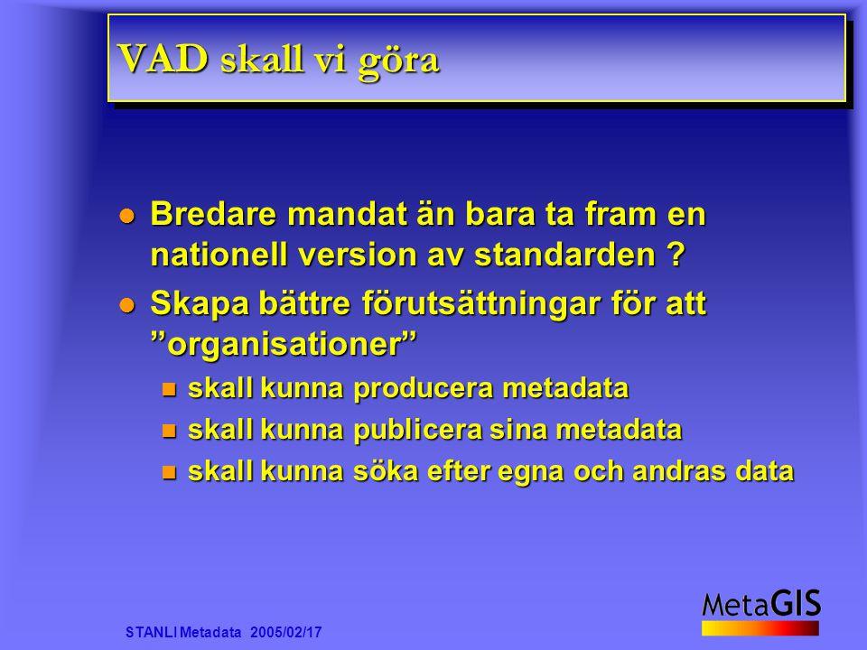 STANLI Metadata 2005/02/17 VAD skall vi göra Bredare mandat än bara ta fram en nationell version av standarden ? Bredare mandat än bara ta fram en nat