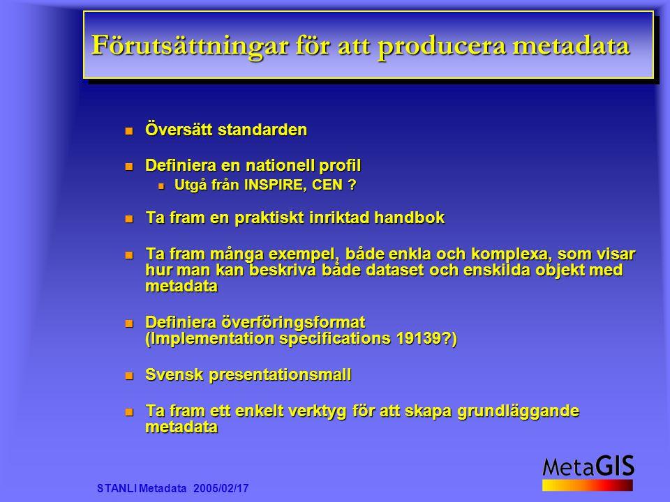 STANLI Metadata 2005/02/17 Förutsättningar för att producera metadata Översätt standarden Översätt standarden Definiera en nationell profil Definiera en nationell profil n Utgå från INSPIRE, CEN .