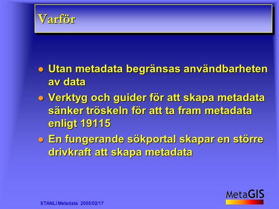 STANLI Metadata 2005/02/17 VarförVarför Utan metadata begränsas användbarheten av data Utan metadata begränsas användbarheten av data Verktyg och guid