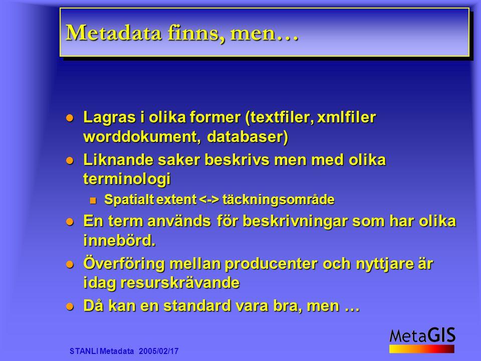 STANLI Metadata 2005/02/17 Metadata finns, men… Lagras i olika former (textfiler, xmlfiler worddokument, databaser) Lagras i olika former (textfiler, xmlfiler worddokument, databaser) Liknande saker beskrivs men med olika terminologi Liknande saker beskrivs men med olika terminologi Spatialt extent täckningsområde Spatialt extent täckningsområde En term används för beskrivningar som har olika innebörd.