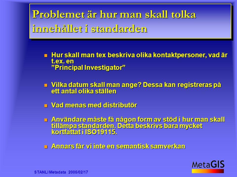 STANLI Metadata 2005/02/17 Problemet är hur man skall tolka innehållet i standarden Hur skall man tex beskriva olika kontaktpersoner, vad är t.ex.