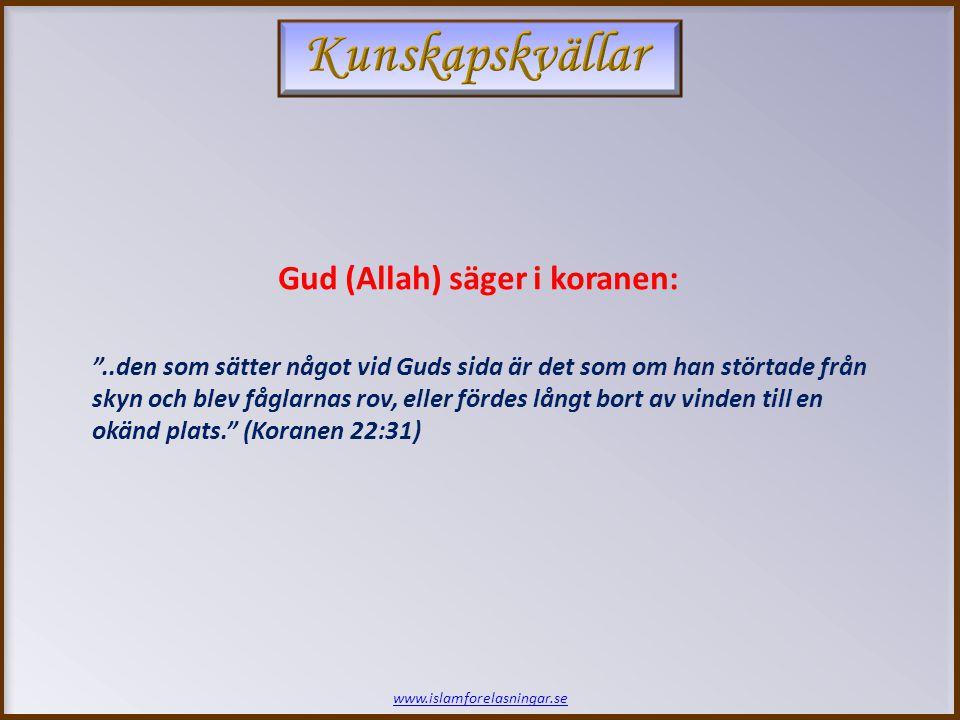 www.islamforelasningar.se ..den som sätter något vid Guds sida är det som om han störtade från skyn och blev fåglarnas rov, eller fördes långt bort av vinden till en okänd plats. (Koranen 22:31) Gud (Allah) säger i koranen: