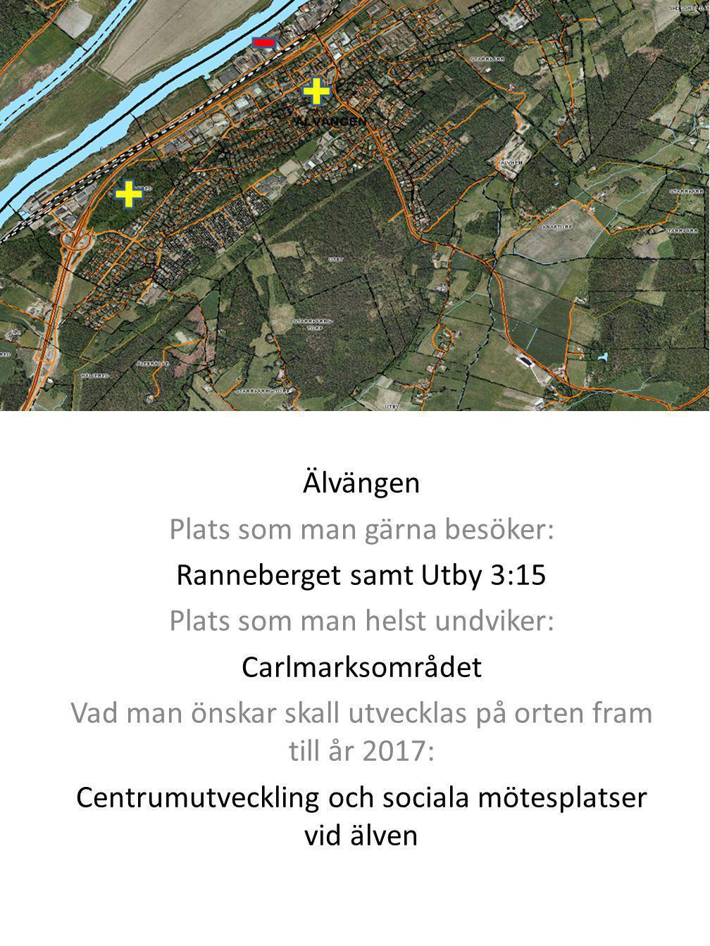 Älvängen Plats som man gärna besöker: Ranneberget samt Utby 3:15 Plats som man helst undviker: Carlmarksområdet Vad man önskar skall utvecklas på orte