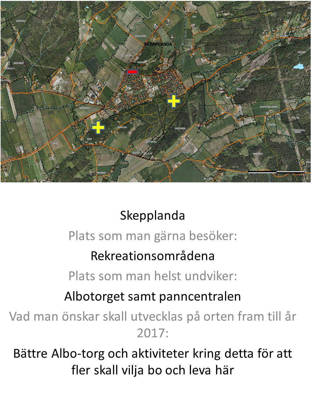 Alvhem Plats som man gärna besöker: Svenssons livs och älven Plats som man helst undviker: Skrotupplag samt dåliga byggnader på vissa tomter Vad man önskar skall utvecklas på orten fram till år 2017: Fler familjer kan flytta in samt upprensning