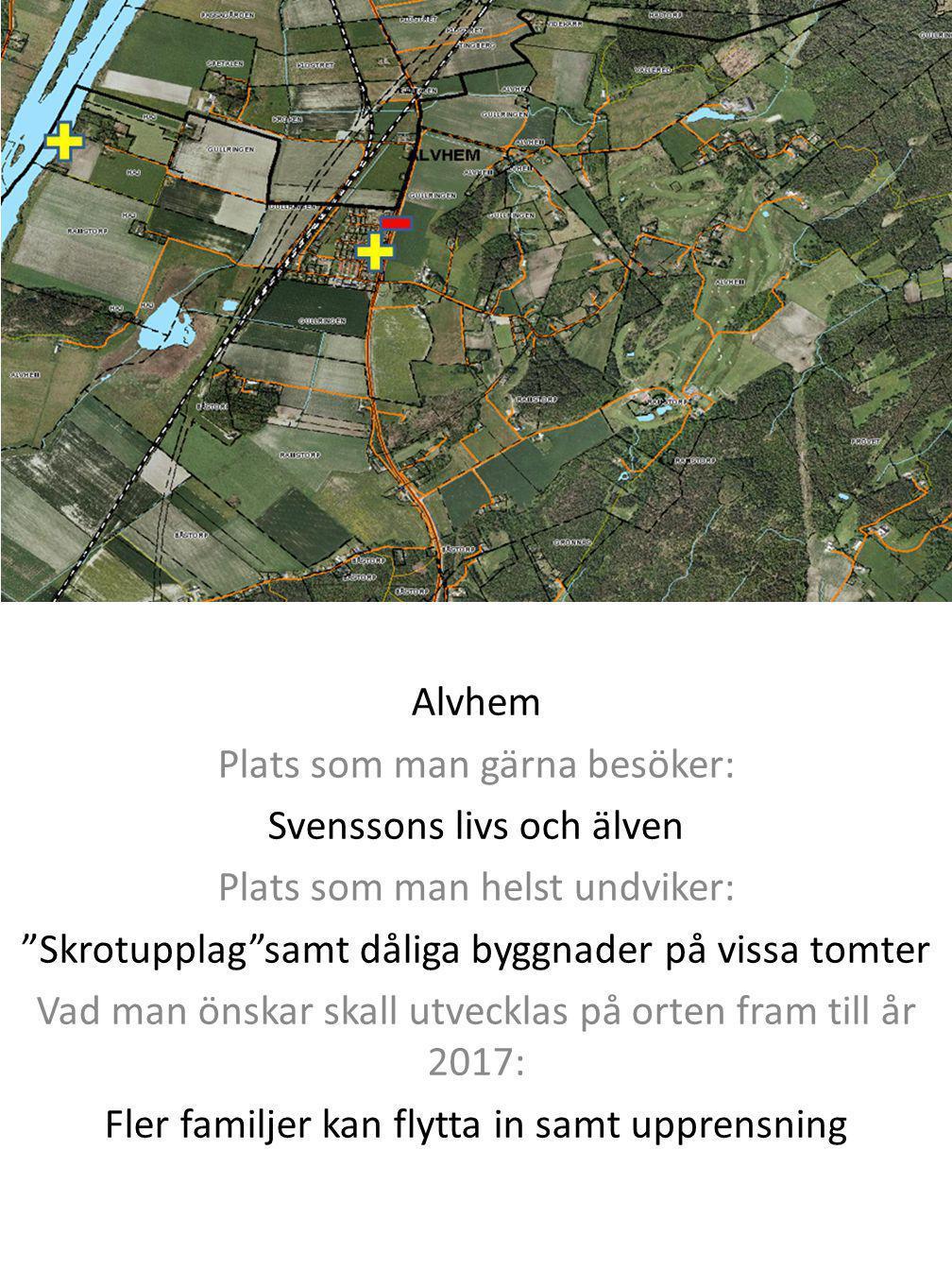 """Alvhem Plats som man gärna besöker: Svenssons livs och älven Plats som man helst undviker: """"Skrotupplag""""samt dåliga byggnader på vissa tomter Vad man"""