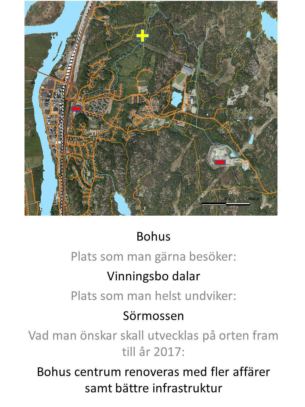 Bohus Plats som man gärna besöker: Vinningsbo dalar Plats som man helst undviker: Sörmossen Vad man önskar skall utvecklas på orten fram till år 2017: