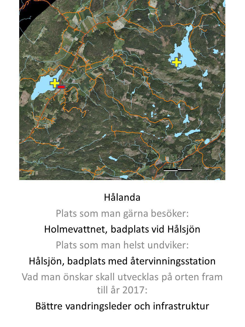 Hålanda Plats som man gärna besöker: Holmevattnet, badplats vid Hålsjön Plats som man helst undviker: Hålsjön, badplats med återvinningsstation Vad ma