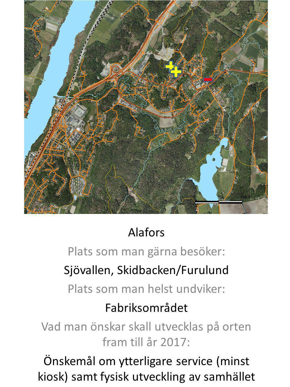 Alafors Plats som man gärna besöker: Sjövallen, Skidbacken/Furulund Plats som man helst undviker: Fabriksområdet Vad man önskar skall utvecklas på ort