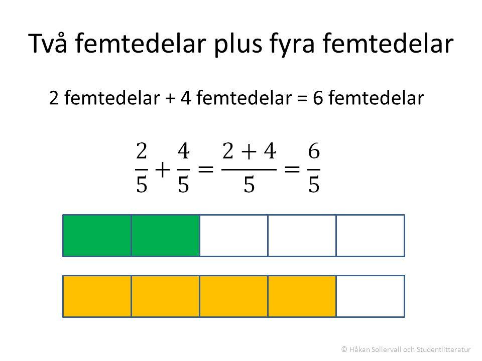 Två femtedelar plus fyra femtedelar 2 femtedelar + 4 femtedelar = 6 femtedelar © Håkan Sollervall och Studentlitteratur