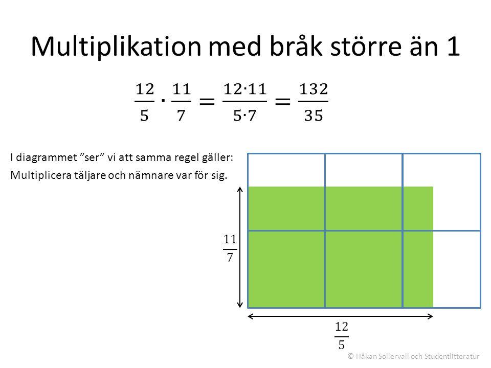 Multiplikation med bråk större än 1 I diagrammet ser vi att samma regel gäller: Multiplicera täljare och nämnare var för sig.