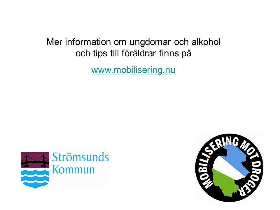 Mer information om ungdomar och alkohol och tips till föräldrar finns på www.mobilisering.nu