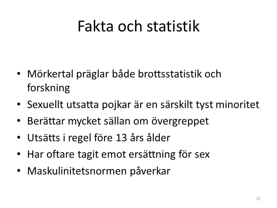 Fakta och statistik Mörkertal präglar både brottsstatistik och forskning Sexuellt utsatta pojkar är en särskilt tyst minoritet Berättar mycket sällan