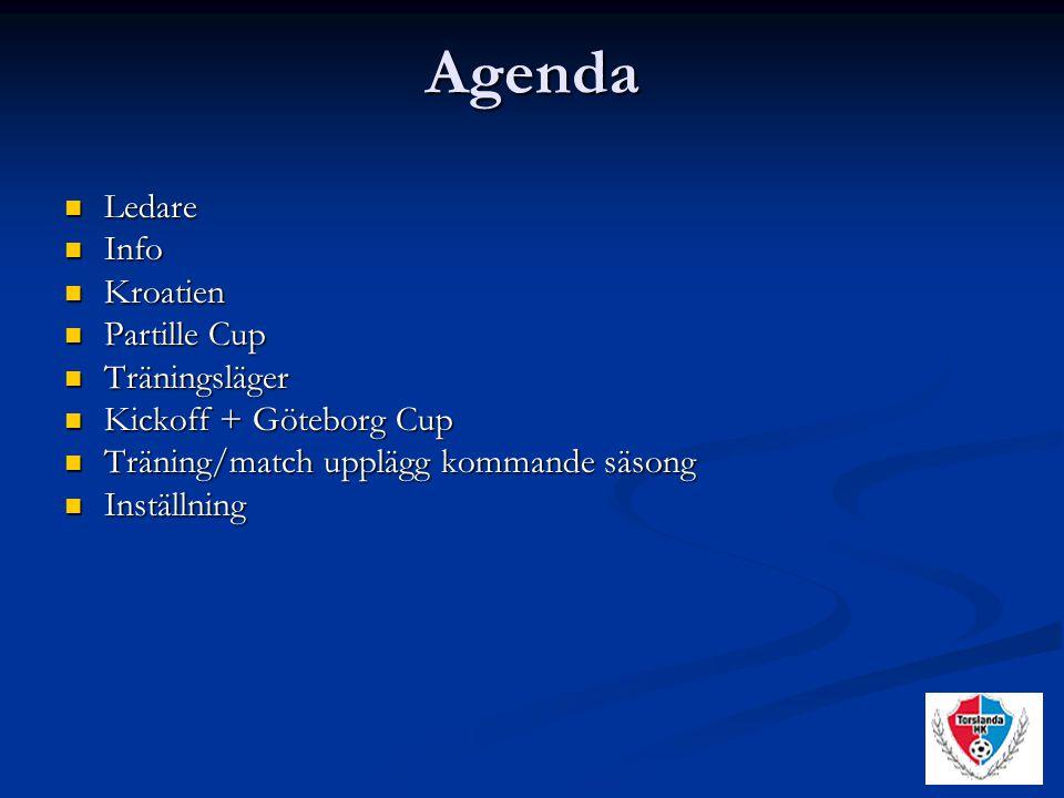 Agenda Ledare Ledare Info Info Kroatien Kroatien Partille Cup Partille Cup Träningsläger Träningsläger Kickoff + Göteborg Cup Kickoff + Göteborg Cup Träning/match upplägg kommande säsong Träning/match upplägg kommande säsong Inställning Inställning