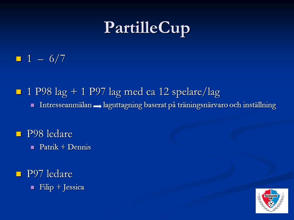 PartilleCup 1 – 6/7 1 – 6/7 1 P98 lag + 1 P97 lag med ca 12 spelare/lag 1 P98 lag + 1 P97 lag med ca 12 spelare/lag Intresseanmälan laguttagning baserat på träningsnärvaro och inställning Intresseanmälan laguttagning baserat på träningsnärvaro och inställning P98 ledare P98 ledare Patrik + Dennis Patrik + Dennis P97 ledare P97 ledare Filip + Jessica Filip + Jessica