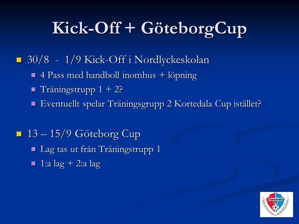 Kick-Off + GöteborgCup 30/8 - 1/9 Kick-Off i Nordlyckeskolan 30/8 - 1/9 Kick-Off i Nordlyckeskolan 4 Pass med handboll inomhus + löpning 4 Pass med handboll inomhus + löpning Träningstrupp 1 + 2.