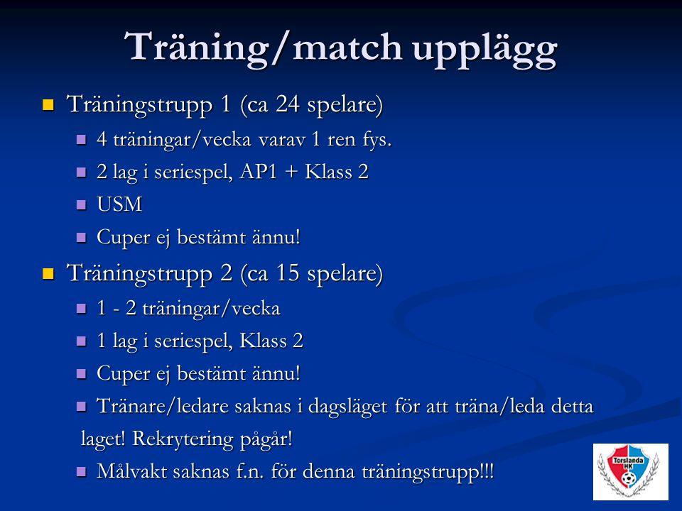 Träning/match upplägg Träningstrupp 1 (ca 24 spelare) Träningstrupp 1 (ca 24 spelare) 4 träningar/vecka varav 1 ren fys.