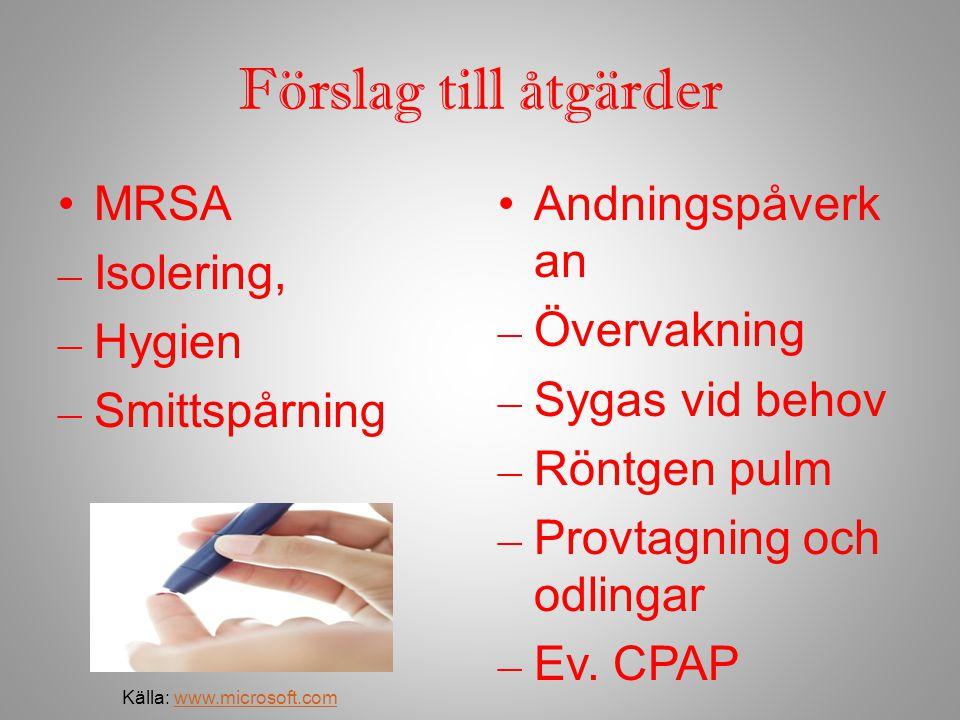 Förslag till åtgärder MRSA – Isolering, – Hygien – Smittspårning Andningspåverk an – Övervakning – Sygas vid behov – Röntgen pulm – Provtagning och od