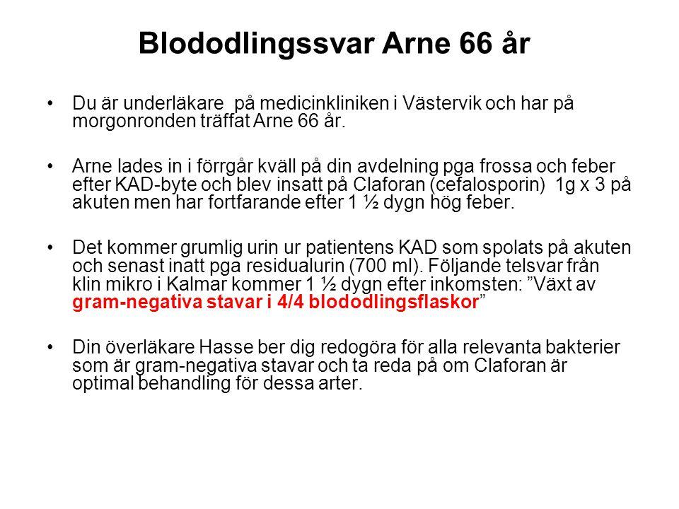 Blododlingssvar Arne 66 år Du är underläkare på medicinkliniken i Västervik och har på morgonronden träffat Arne 66 år.