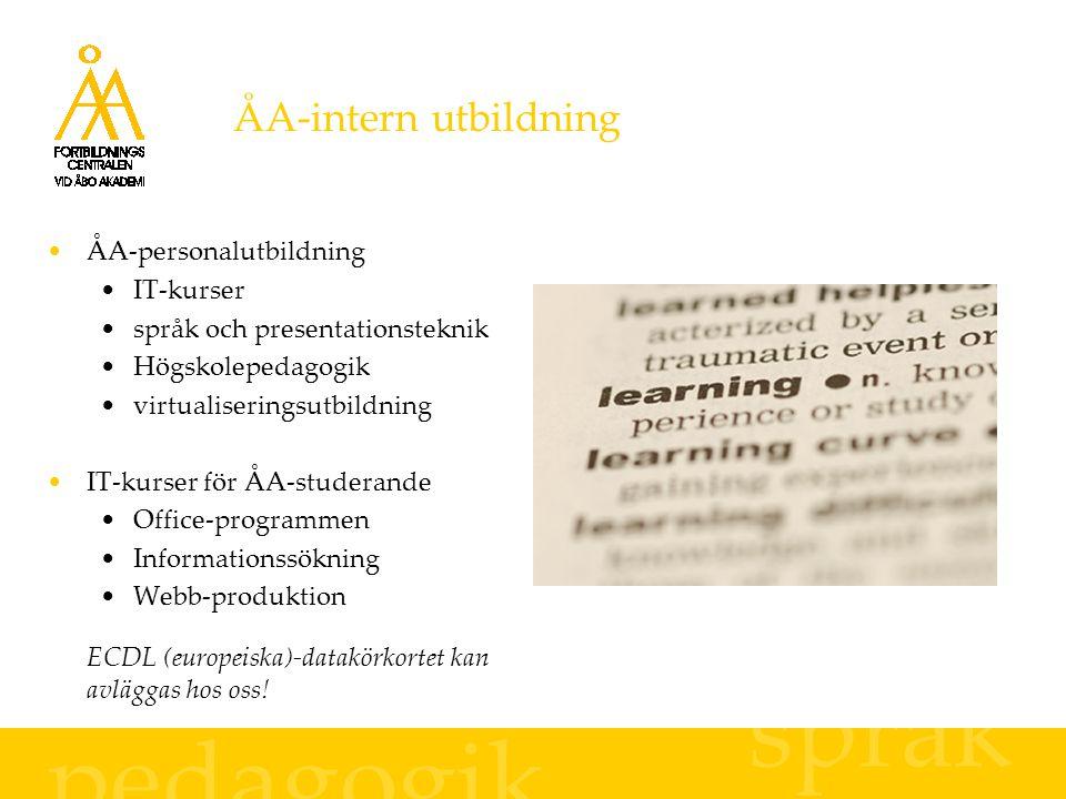 ÅA-intern utbildning ÅA-personalutbildning IT-kurser språk och presentationsteknik Högskolepedagogik virtualiseringsutbildning IT-kurser för ÅA-studerande Office-programmen Informationssökning Webb-produktion ECDL (europeiska)-datakörkortet kan avläggas hos oss.