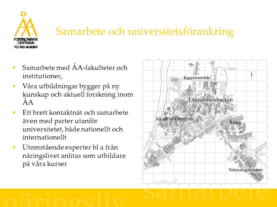 Samarbete och universitetsförankring Samarbete med ÅA-fakulteter och institutioner, Våra utbildningar bygger på ny kunskap och aktuell forskning inom