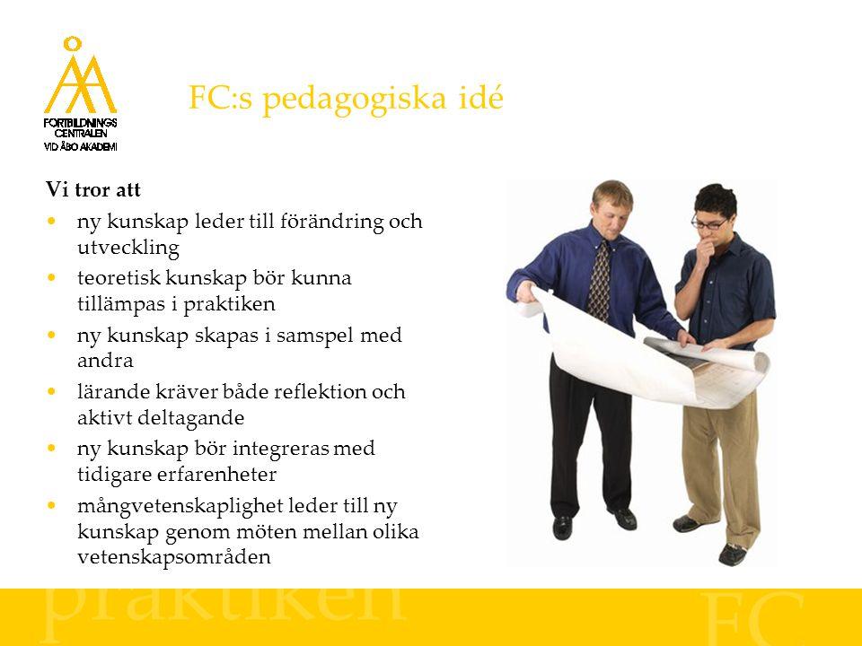 FC:s pedagogiska idé praktiken FC Vi tror att ny kunskap leder till förändring och utveckling teoretisk kunskap bör kunna tillämpas i praktiken ny kun