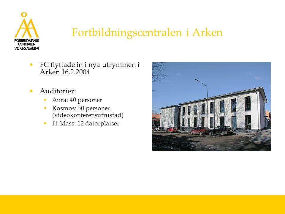 Fortbildningscentralen i Arken FC flyttade in i nya utrymmen i Arken 16.2.2004 Auditorier: Aura: 40 personer Kosmos: 30 personer (videokonferensutrustad) IT-klass: 12 datorplatser