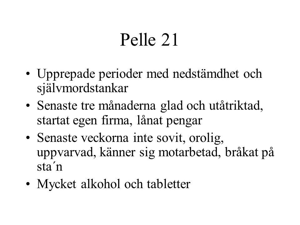 Pelle 21 Upprepade perioder med nedstämdhet och självmordstankar Senaste tre månaderna glad och utåtriktad, startat egen firma, lånat pengar Senaste veckorna inte sovit, orolig, uppvarvad, känner sig motarbetad, bråkat på sta´n Mycket alkohol och tabletter