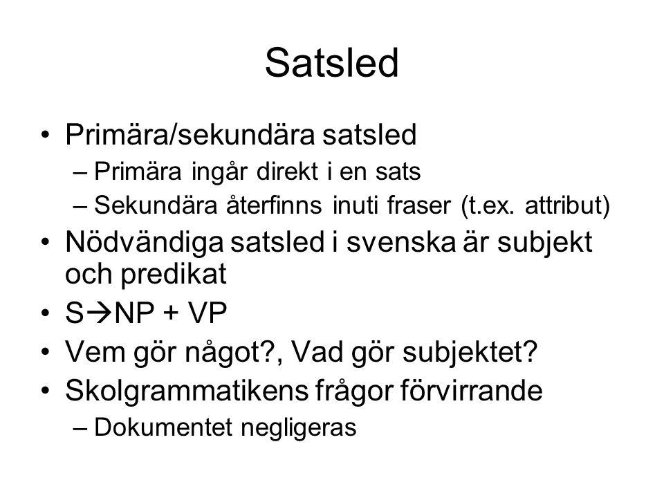 Satsled Primära/sekundära satsled –Primära ingår direkt i en sats –Sekundära återfinns inuti fraser (t.ex. attribut) Nödvändiga satsled i svenska är s
