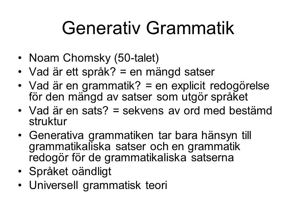 Generativ Grammatik Noam Chomsky (50-talet) Vad är ett språk? = en mängd satser Vad är en grammatik? = en explicit redogörelse för den mängd av satser