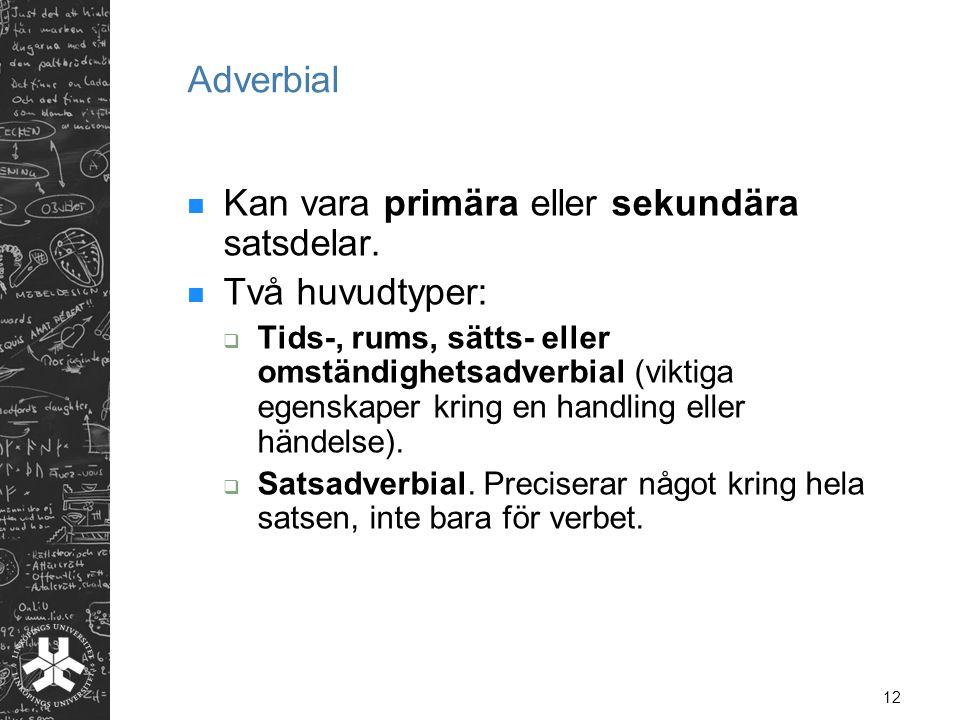 12 Adverbial Kan vara primära eller sekundära satsdelar.